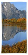 Mt. Moran Fall Reflection  Beach Towel