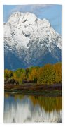Mt Moran From Ox Bow Bend Beach Towel