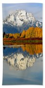 Mt Moran From Ox Bow Bend On A Fall Morning Beach Towel