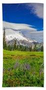 Mt Rainier And Wildflowers Beach Towel