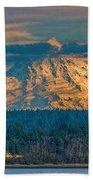 Mt Rainier Sunset Beach Towel
