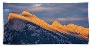 Mt Rundle Sunset Banff Beach Towel
