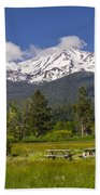 Mt Shasta With Picnic Tables Beach Towel