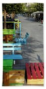 Multi-colored Benches On The Pedestrian Zone Beach Towel