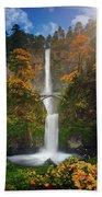 Multnomah Falls In Autumn Colors -panorama Beach Towel