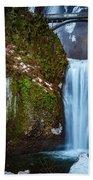 Multnomah Falls With Ice Beach Towel
