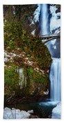 Multnomah Falls With Snow Beach Towel