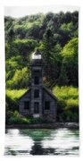 Munising Grand Island Lighthouse Upper Peninsula Michigan Vertical 01 Beach Towel