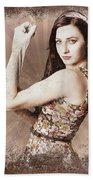 Muscle And Strength Pinup Poster Girl Beach Towel