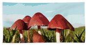 Mushrooms In Autumn Beach Towel