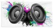 Music Speakers Colorful Design Beach Towel