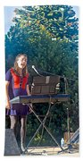 Musical Entertainers In Central Park In Bariloche-argentina Beach Towel