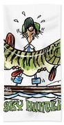 Musky Hunter - Cartoon Beach Towel by Peter McCoy