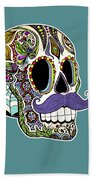 Mustache Sugar Skull Beach Towel by Tammy Wetzel