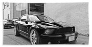Mustang Alley In Black And White Beach Towel