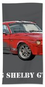 Mustang Shelby Gt500 Red, Handmade Drawing, Original Classic Car For Man Cave Decoration Beach Towel