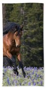 Mustang Stallion And Lupines Beach Towel