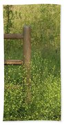 Mustard Grass And Fence At Entrance To Peters Canyon Beach Towel