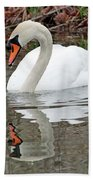 Mute Swan Reflecting Beach Towel