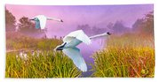 Mute Swans Over Marshes Beach Towel