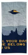 My All Your Base Are Belong To Us Meets X-files I Want To Believe Poster  Beach Towel by Chungkong Art