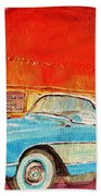 My Blue Corvette At The Orange Julep Beach Towel