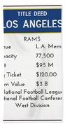 My Nfl Los Angeles Rams Monopoly Card Beach Towel
