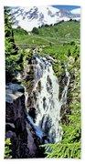 Myrtle Falls And Mount Rainier Beach Towel