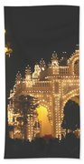 Mysore Palace Main Gate Temple Gloriously Lit At Night Beach Towel