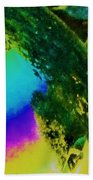 Mysterious Planet Beside Leaves Beach Towel