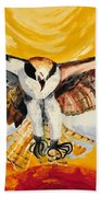 Mythical Eagle Perching Oil Painting Beach Towel