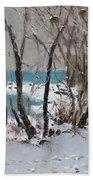 Naked Trees By The Lake Shore Beach Towel
