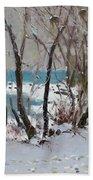Naked Trees By The Lake Shore Beach Sheet