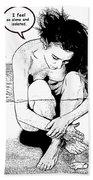 Naked Woman Comic Illustration Beach Sheet