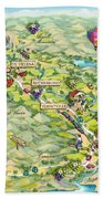 Napa Valley Illustrated Map Beach Towel