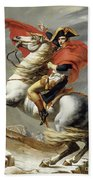 Napoleon Crossing The Alps, Jacques Louis David, From The Original Version Of This Painting  Beach Towel