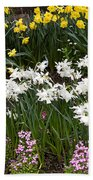 Narcissus And Daffodils In A Spring Flowerbed Beach Towel