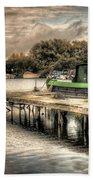Narrow Boat And Jetty Beach Towel