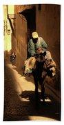 Narrow Streets Fes Male Donkey  Beach Towel