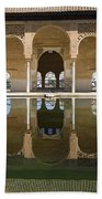 Nasrid Palace Arches Reflection At The Alhambra Granada Beach Towel