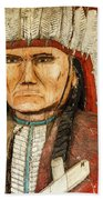 Native American Chief With Pipe Beach Towel