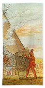 Native American Indian Sweat Lodge Beach Towel by Science Source
