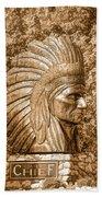 Native American Statue Copper  Beach Towel
