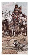 Native Americans Plains People Moving Camp Beach Towel