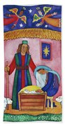 Nativity With Angels Beach Towel