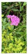 Natural Background With Vegetation And Purple Flowers. Beach Towel