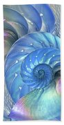 Nautilus Shells Blue And Purple Beach Towel by Gill Billington