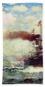 Naval Battle Explosion Beach Towel by James Gale Tyler