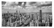 Near North Side And Gold Coast Black And White Beach Towel