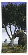Nedoceratops Graze Beneath A Giant Oak Beach Towel